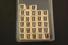 Box Set of 28 STAMPIN UP! Alphabet + ? ! Wood Mounted Rubber Stamps Inverse Mask