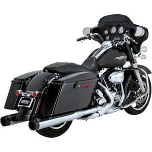 "Vance & Hines 16465 4.5"" Hi-Output Slip-On Exhaust Chrome/CF H-D FLH/FLT 95-16"