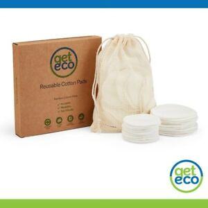 Reuseable Cotton Pads - 20 Natural Bamboo Cotton Pads. 2 sizes, with Laundry Bag