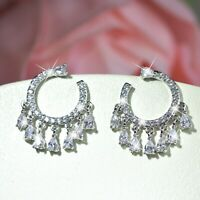 18k white gold made with SWAROVSKI crystal stud round circle earrings tassel