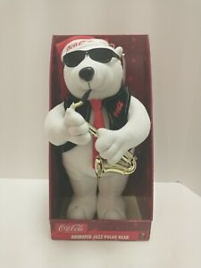 Vtg Coca Cola 1990's Christmas Animated Jazz Sax Musical Polar Bear