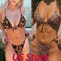 Sexy Women Leopard Print Strappy Bikini Thong Swimsuit Beachwear Tankini Set US