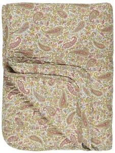IB Laursen Plaid Decke Quilt Sofadecke Paisley rosa grün 130 x 180cm Tagesdecke