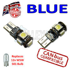 2 x blu Bright CANBUS LED Luce Laterale 5 Smd 501 T10 W5W Lampadine