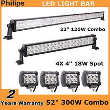 "52""inch 300W Philips LED Light Bar + 22"" 120W+ 4X 4inch 18W CREE Spot Pod Lights"