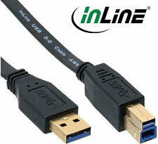 INLINE USB 3.0 Câble Plat , A à B, noir, contacts or, 2,5m