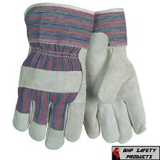 12 Pairs Leather Palm Safety Split Cowhide Welding Cuff Gloves Size Large