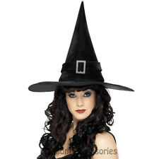 A950 Witch Hat Black Diamante Buckle Witches Halloween Costume Accessory