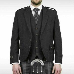 Scottish Argyle Kilt Jacket & Vest Grey Charcoal Tweed Wedding Jacket For Men