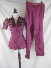 Vtg 40s 50s Burgundy Womens Vintage Satin Embroidered Hostess Lounge Set Pajamas