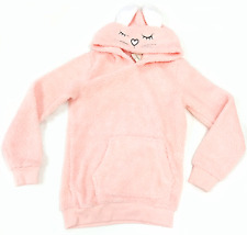 George Womens Hoodie Sweater Pouch Bunny Ears Fuzzy Novelty NWOT Light Pink MED