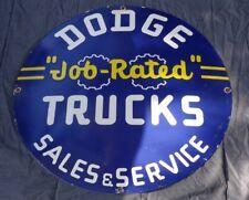 """VINTAGE DODGE JOB RATED TRUCKS SERVICE 30"""" PORCELAIN METAL CAR GASOLINE OIL SIGN"""
