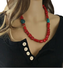 """Esprit Red Stone & Turquoise Chunky Beaded Toggle Necklace 24"""""""