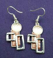 1980 geometric Shapes Pink enamel Silvertone earrings