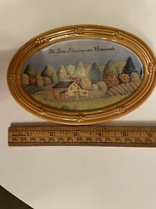 Vtg Russ Ceramic Oval Wall Hanging The Best Blessings Are Homemade Autumn Farm