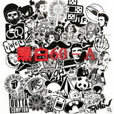 60pcs Black&white Cartoon Graffiti Car Truck Sticker Bomb Wrap Sheet Decal White Black Type a
