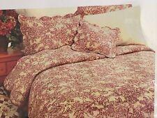 Nwt Sunham Veranda cotton quilt and shams, Floral, Red,Full/Queen, coverlet set
