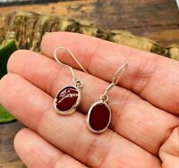 TAXCO Red Jasper Earrings Mexican 925 Sterling Silver - Light Weight !