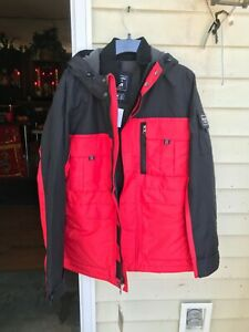 $160 abercrombie fitch A&F Climate Tech Jacket red and black size XL