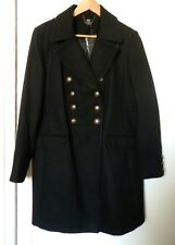 New F&F Ladies Double Breasted Black Military Style Knee Length Coat Size18