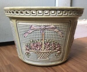 Weller Planter Rose Basket Dupont Flower Pot Reticulated Round Vintage Early