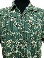 Aftco Bluewater Hawaiian Shirt Marlin Floral Large Made USA Camp Short Sleeve