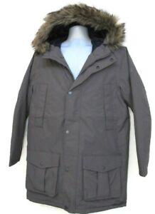 TIMBERLAND Men's Gray Waterproof Faux Fur Hooded Parka Jacket Size L, #8141J-039