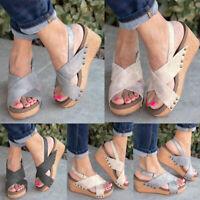 Womens Platform X Strap Hook Loop Slingback Sandals Peeptoe Casual Shoes Size