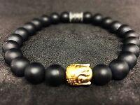 Onyx schwarz matt Armband Bracelet Perlenarmband Buddhakopf gold 8mm