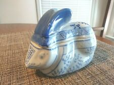 "Ceramic Rabbit Trinket Box, Vgc,Majolica 4.25""Hx5.5""W, Blue/White"