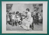 SCHOOL for Young Girls Lady Teacher - 1892 Victorian Era Print