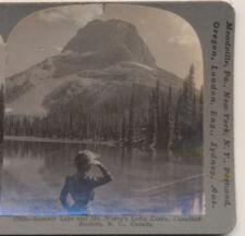 Lady Summit Lake & Mt Wapta's lofty castleBC Canada Keystone Stereoview c1910