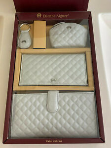New Etienne Aigner 4pc Set of Silver Wallet, Checkbook, Key Chain & Coin Purse