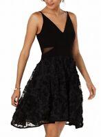 Xscape Women's Dress Classic Black Size 12 A-Line Mesh Fit & Flare $219- #440
