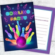 Neon Bowling Party Invitations - Ready to Write with Envelopes (Pack 10)