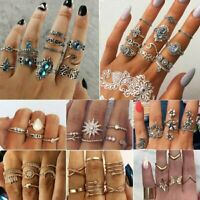 Retro 10Pcs/Set Women Knuckle Ring Finger Stacking Bands Midi Mid Punk Tip Gift