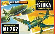 Lindberg 1:48 WWII German Fighter 2 Model Kit Pack JU87/ME262 508 LND508