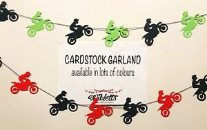 MOTORBIKE DIRT BIKE MOTOCROSS RACING THEME BIRTHDAY PARTY GARLAND. BLACK RED