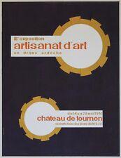 """EXPO ARTISANAT D'ART TOURNON 1961"" Maquette gouache s/papier entoilée BASSARI"