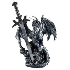 "Silver Painted Dragon With Sword and Glass Orb Figurine Statue 6.5"" High New"