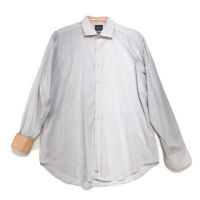 Thomas Dean Shirt Mens Size XL White Orange Long Sleeve Button Front Flip Cuff