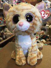 """Ty TABITHA -Orange/Beige Striped Tabby Cat 10"""" Beanie Boo Buddy! *Retired* VHTF!"""
