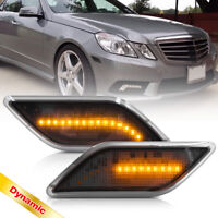 Smoked Dynamic Amber LED Bumper Side Marker Light for 10-13 Benz W212 E-Class 2X
