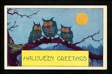 Halloween postcard Whitney WH41-3 Owl moon fantasy greetings Vintage