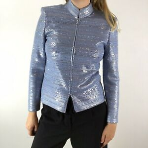 St. John Couture Blue Paillette Cocktail Party Evening Blazer Size 2 Full Zip