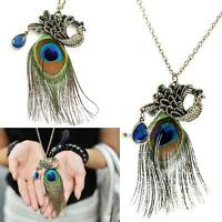 5pcs Nice Gorgeous Vintage Rhinestone Blue Eyes Peacock Long Feather Necklace MT