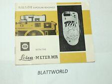 LEICA LEITZ MR METER  EXPOSURE LIGHT METER NEW INSTRUCTION MANUAL GUIDE BOOK