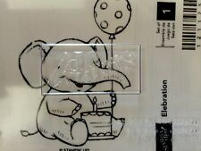 """ELEBRATION baby Elephant"" Stampin'UP! NEW~WOOD~RARE~ unmounted-First Birthday"