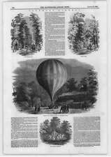 1849 Vauxhall Gardens Assent Mr Green's Balloon Gothic Ruins Neptune Fountain