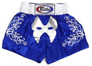 Fairtex Embroided Muay Thai Shorts The Masquera Blue Satin  BS0641 boxing shorts